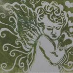 MOSS GREEN PUTTO – Michelangelo 5.// Zeleny mechovy Cherubin 5.  Linocut – 13x13 cm, angel's feathers, a  plastic golden frame  /linoryt, andelske peri